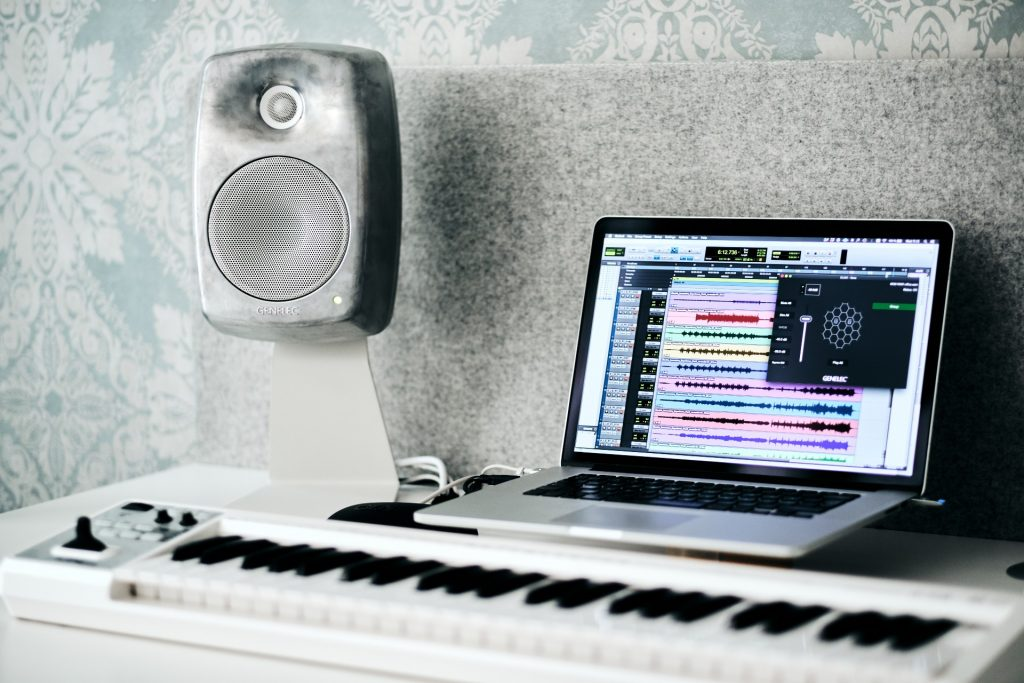 Genelec SAM 8330A speaker with laptop and recording software