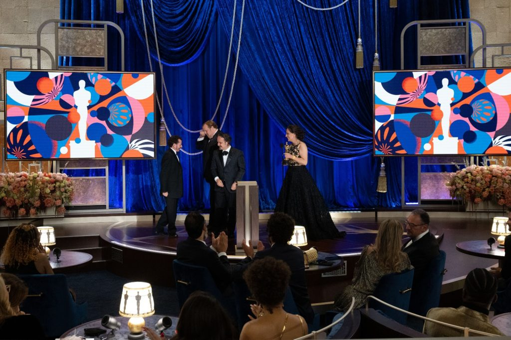 Jaime Baksht, Carlos Cortés, Phillip Bladh, Michelle Couttolenc, and Nicolas Becker accept an Oscar for Sound of metal