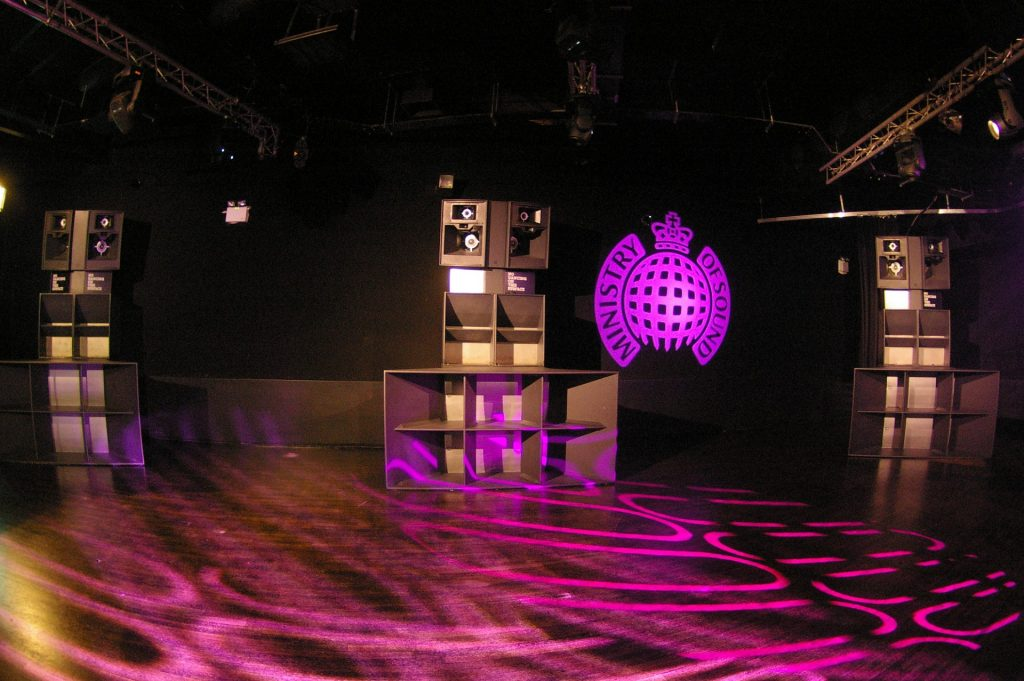 A custom Martin Audio speaker stack on the dancefloor at Ministry of Sound