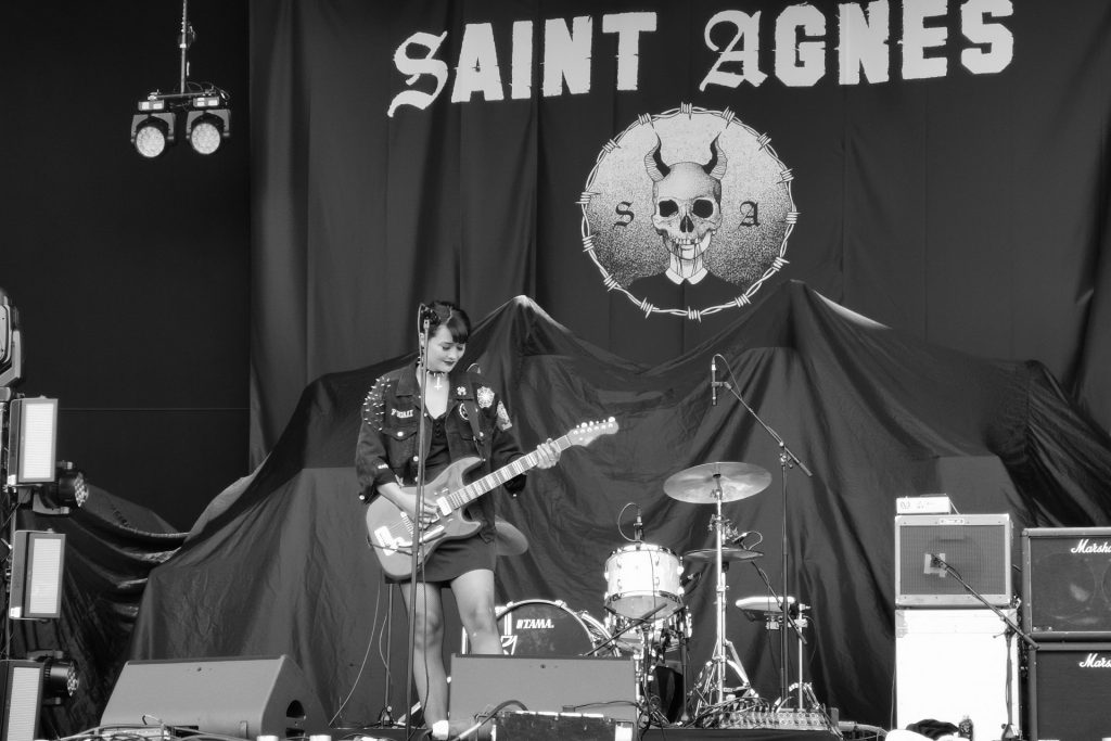 Saint Agnes on stage at Download during the sound check