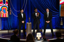 Trent Reznor, Jon Batiste and Atticus Ross accept the Best ScoreOscar for Soul
