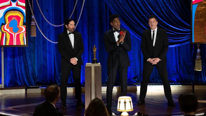 Trent Reznor, Jon Batiste and Atticus Ross accept the Best ScoreOscar for Soul