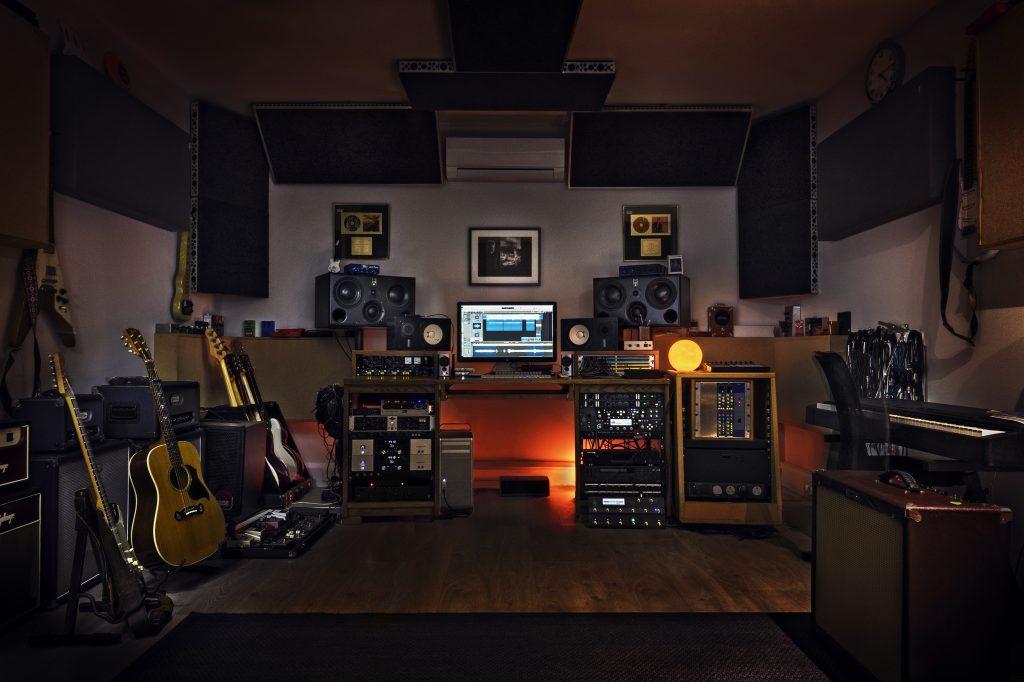 Duran Duran guitarist Dom Brown in his studio